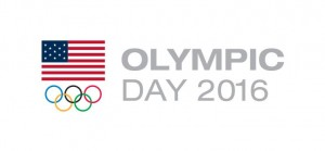 The Olympic Day 2016 emlem of the United States flag and the five colored Olympic rings symbol.