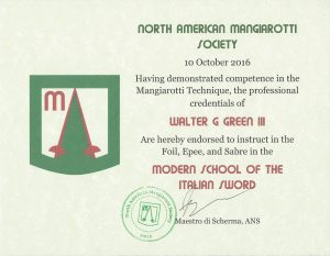 NAMS Endorsement certificate