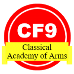 Open badge for classical fencing students.