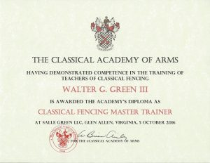 CAA Classical Fencing Master Trainer certificate