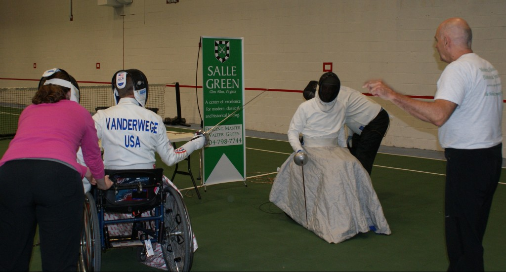 Wheelchair bout at Sportable workshop