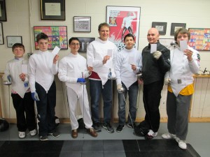 Salle Green fencers showing White Cards