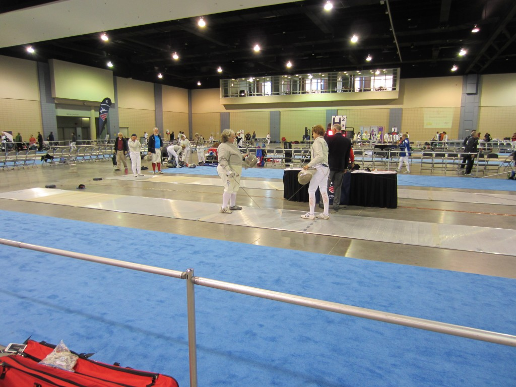 Getting ready to fence sabre.