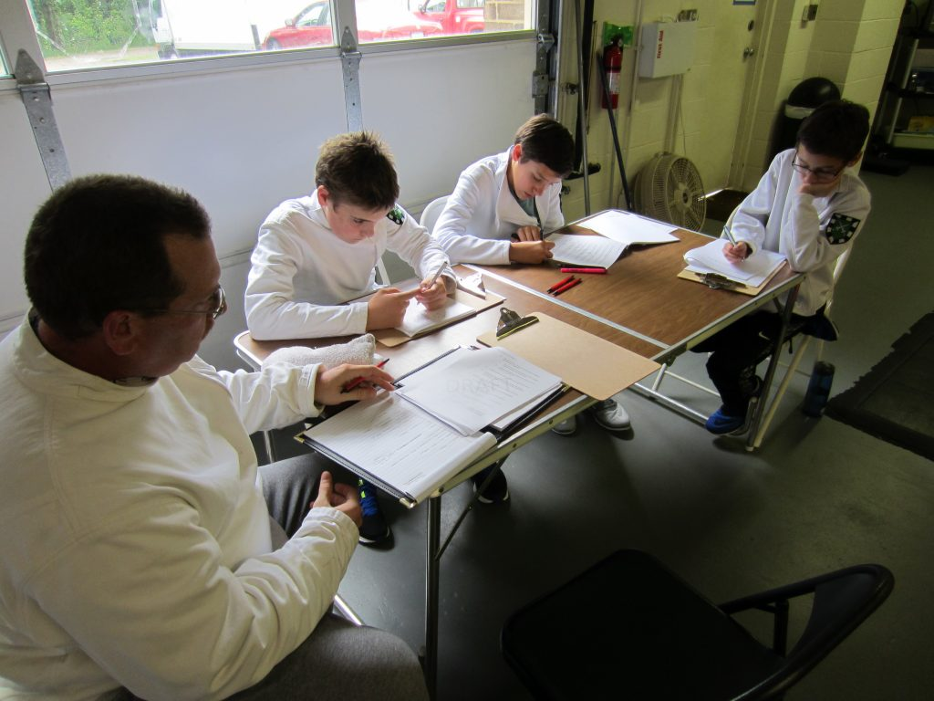 Fencing coaches planning lessons