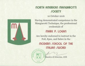 Certificate of endorsement to teach Mangiarotti Technique