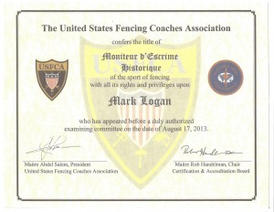 USFCA Moniteur for Historical Fencing Certificate